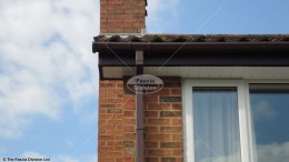 UPVC rosewood fascia white soffits brown square guttering