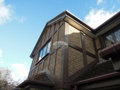 New fascias, soffits with square guttering and mock tudor Replica Wood beams