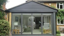UPVC Anthracite grey shiplap cladding on extension
